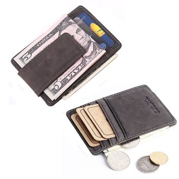 Vintage Genuine Leather Slim Men's Money Clip wallet for Credit Cards small Purse With Coin Bag front pocket clamp for money