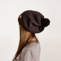 Slouchy Wool Hat For Women In Brown, Crochet Chunky Hat, Winter And Fall Accessories For Men