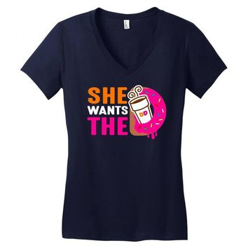 She Wants The D - Dunkin Donuts Women's V-Neck T-Shirt