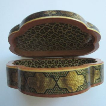 Khatam Inlaid Clam Shell Style Jewelry Box Medallion Marquetry Hinged
