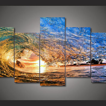 5 Panel Rolling Dark Green Waves Seascape Sunshine Modern Home Wall Decor Canvas Picture Art HD Print Painting On Canvas Artwork