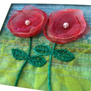 Five inch square organza flower card - for framing - embroidered fabric art - textile art greeting card - wedding gift card - Valentine card