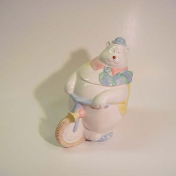 Adorable Fitz & Floyd Circus Bear on Bike Cookie Jar Treat Jar Covered Jar Japan Baby Shower