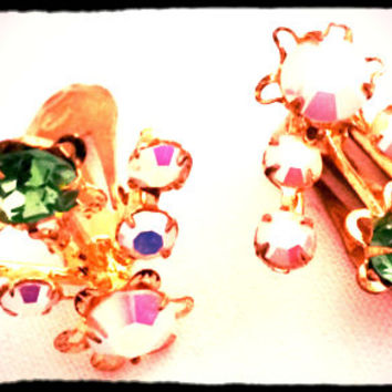 Vintage Clip on Earrings from Austria 1950s Signed collectible Green Pink rhinestones AB