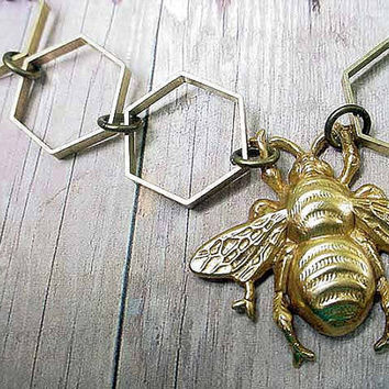 Honey Comb Bee Hive Geometric Necklace by MySelvagedLife on Etsy