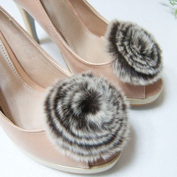 Fur Circle Shoe Clips,winter shoe clips
