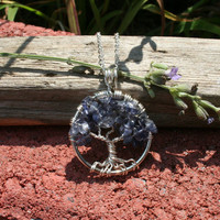 Tanzanite Tree of Life Pendant---Petite Pendant On Silver Chain Wire Wrapped Semi Precious Gemstone Jewelry