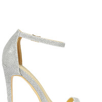 Night Away Silver Ankle Strap Heels