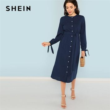 SHEIN Navy Elegant Knot Cuff Button Up Belted O-Neck Long Sleeve Natural Waist Solid Dress 2018 Autumn Casual Women Dresses