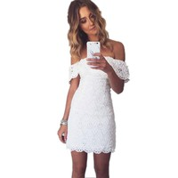 Summer Women Elegant Lace White Party Dresses Sexy Off Shoulder