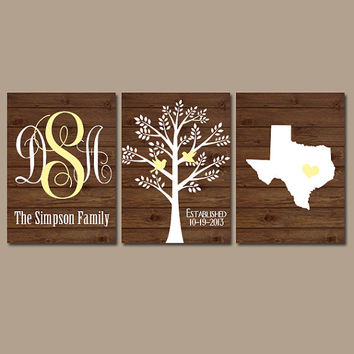 Monogram FAMILY TREE State Initials Name Wall Art Canvas Bird Wood Grain Custom Established Date Set of 3 Wedding Anniversary Gift Artwork