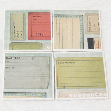 Tile Coasters in Travel/Post Card/Boarding Pass Theme with Foam Backs (4)