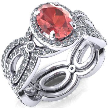 Polaris Oval Padparadscha Sapphire 4 Claw Prongs Diamond Halo Full Eternity Accent Ring