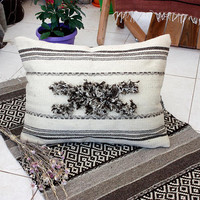Unique handwoven boho cushion, handmade pillow cover in natural colors, wool pillow case, stylish white throw pillow case, lumbar pillow