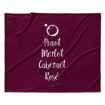 "Kess Original ""Pinot, Merlot, Cabernet, Ros?̴å© "" White Red Fleece Throw Blanket"