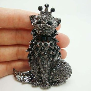 Vintage Domineering Cat King Black Crystal Rhinestone Pendant Brooch Pin,With Rotatable Tail