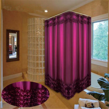 Home Decoration Bathroom Customized Shower Curtain Waterproof Moldproof Polyester Fabric Lace Bath Curtain White and Purple