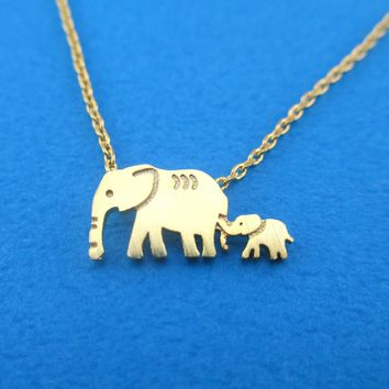 Elephant Family Mom and Baby Silhouette Shaped Pendant Necklace in Gold