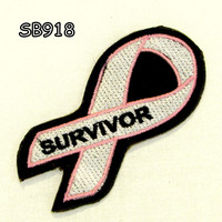 SURVIVOR PINK RIBBON Iron on Small Badge Patch for Biker Vest SB918