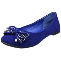 Womens Ballet Flats Studded Bow Tassel Accent Faux Suede Shoes Blue SZ