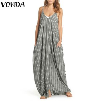 Plus Size Women Dress 2019 Summer Sexy V Neck Backless Striped Sarafans Long Maxi Tank Dresses Vintage Casual Loose Vestidos