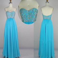 Strapless Sweetheart Beading Chiffon Blue Prom Dress Party Dresses