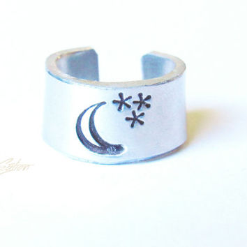 Moon and Star - Personalized Ring - HandStamped Ring - Wrap Ring - Moon Ring - Silver Ring - Custom Ring - Stacking Rings - Aluminum