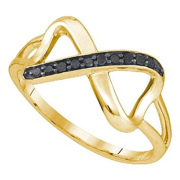 10kt Yellow Gold Womens Round Black Color Enhanced Diamond Infinity Ring 1/10 Cttw