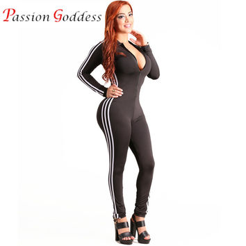 Casual Fitness Rompers Womens Jumpsuit 2016 Sportswear Playsuit Long Sleeve Skinny Stripe Sexy Bodysuits Front Zipper Jumpsuits