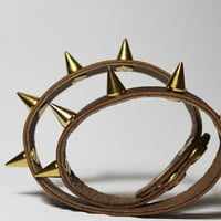Brown Leather Bracelet /Gold Spike / Leather Narrow Double  Wrap  Cuff