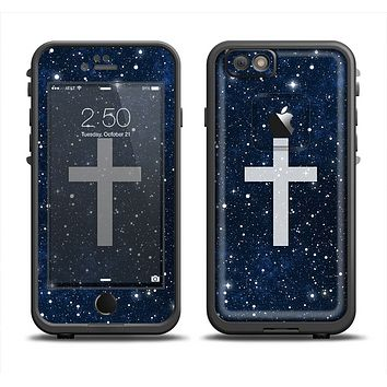 The Vector White Cross v2 over Bright Starry Sky Apple iPhone 6 LifeProof Fre Case Skin Set