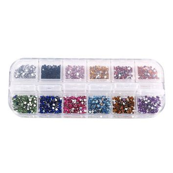 CREYHY3 1.5-2 mm 12 colors Round Acrylic Rhinestone Perfect for 3D Nail Art Decoration,1014