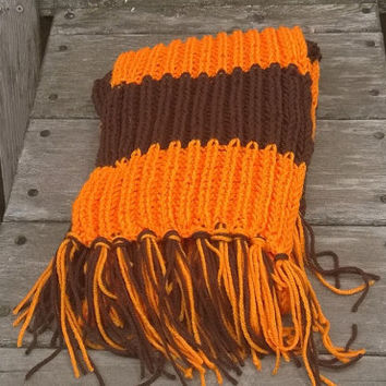 Knit Scarf - Cleveland Football Fan Scarf - Brown and Orange - 6ft - Mens Scarf-Womens Scarf
