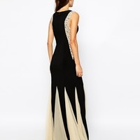 Forever Unique Embellished Maxi Dress with Contrast Pleat Skirt