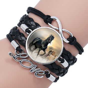 NingXiang Fashion Horse Love Leather Infinity Wrap Bracelet Bangle For Women Handmade Glass Cabochon Horse Jewelry Best Gift