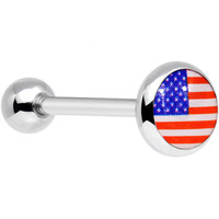 Stainless Steel American Flag Barbell Tongue Ring | Body Candy Body Jewelry