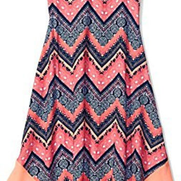 Derek Heart Big Girls' All Over Print Sleeveless Sweet V-Nk W/ Shark Bite W/ Solid Btm Panel Dress, Pink/Coral, Large