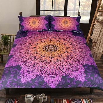 Bohemian Flower Bedding Set Gradient Purple Mandala Quilt Cover Set King Size Home Textiles