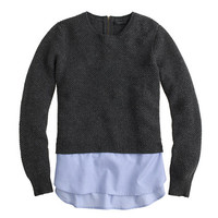 J.Crew Womens Lambswool Shirttail Sweater In Blue