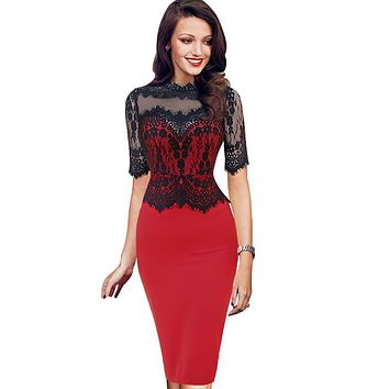 Womens Elegant Floral Lace Casual Dress Party Evening Bodycon Special Occasion Bridemaid Mother of Bride Dress 219