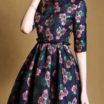 Multicolored Half Sleeve Jacquard Drawstring Dress with Pocket
