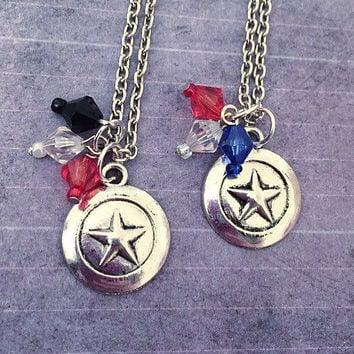 Captain & Soldier Best Friends Necklaces - Stucky - Superhero Jewelry - Comic Book Jewelry - Steve Rogers Inspired Jewelry - Fandom Jewelry