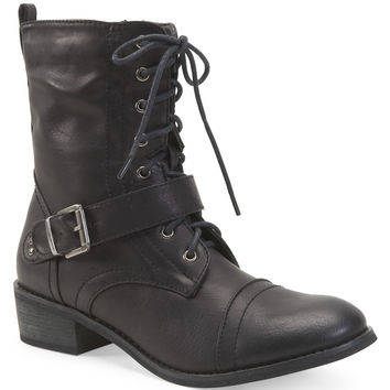 Aeropostale Womens Buckle Combat Boots