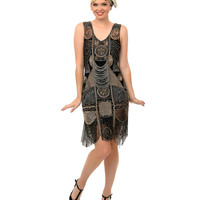 """1920s """"The Bosley"""" Black & Antique Gold Beaded Flapper with Beaded Fringe Dress"""