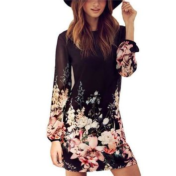 LMFOK8 Women Sexy Chiffon Long Sleeve Cocktail Party Beach Summer Mini Dress Flower Pattern Black Dress