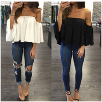 Fashion Women's Ladies 2017 Summer Off-shoulder Shirt Casual Loose Tops Pure Color Flare Sleeve Short T-Shirt