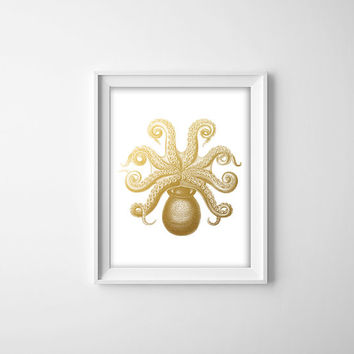Faux Gold Foil Octopus Print. Modern Home Decor. Bathroom Art. Nautical Print. Vintage Inspired Print. Office Art. Sea Themed Poster.