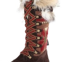 Muk Luks Women's Gwen Tall Lace Up Snow Boot, Brown Snowflake, 6 M US