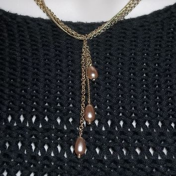 "Vintage Champagne Freshwater Pearl Gold Tone Triple18""-20"" Chain Triple Dangle  Pendant"