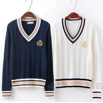 British Preppy Style Women's Unisex V-Neck Winter Sweater Japanese School JK Uniform Long Sleeve Sweater Twisted Line 2 Colors